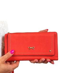 868a5863348e0 Czerwony portfel damski z paskiem 8012