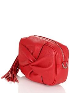 847a59b085da0 Vera Pelle skórzana czerwona torebka z kokardą S10