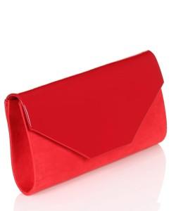 12fae3c65efca Czerwona kopertówka na łańcuszku Zamsz MQ30103