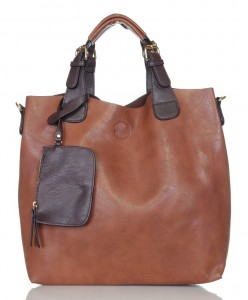 Pojemny rudy shopper bag 2w1 1330