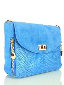 70020fbf93d27 Vera Pelle Zjawiskowa błękitna skórzana torebka S6