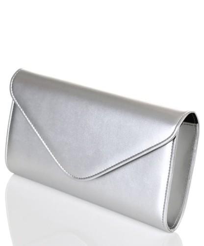 5abcd6a658027 Mała matowa srebrna kopertówka W35 Centrum Modnych Torebek