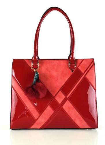 499055156801d Czerwona lakierowana klasyczna torebka damska  319 Centrum Modnych ...