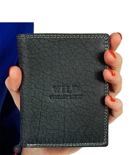 cfd54301c35e6 Czarny męski portfel skórzany w02 Centrum Modnych Torebek