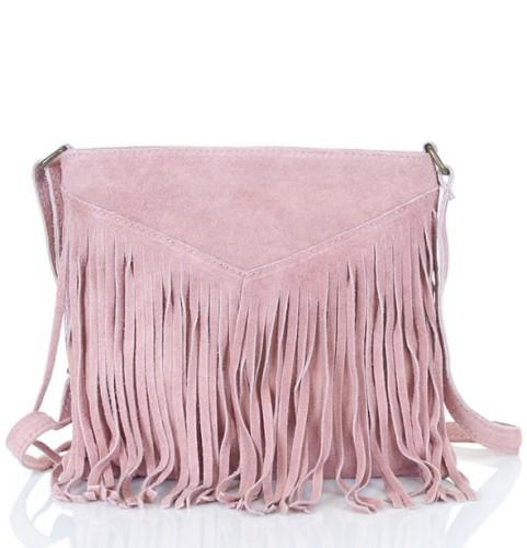 1f08ba0e6f561 Różowa zamszowa torebka FRĘDZLE ZMN1 Centrum Modnych Torebek