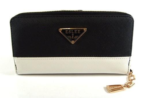 ac6ee45c78105 Czarno - biały portfel damski podwójny 6251 Centrum Modnych Torebek