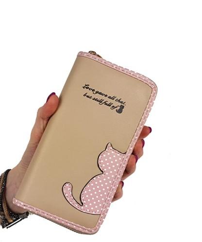 9ee9720e8f08c Uroczy portfel damski kotek beżowy c118 Centrum Modnych Torebek