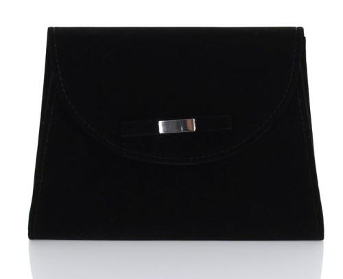 949f8f1cd7131 Czarna zamszowa kopertówka z kokardką W54 Centrum Modnych Torebek