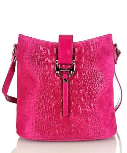 Skórzana różowa torebka SS7