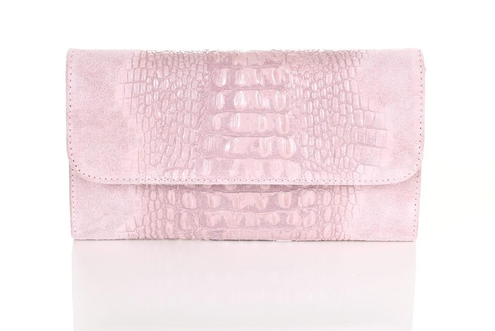 4a05265c70a5d Vera Pelle skórzana różowa kopertówka ZAMSZ SS9 Centrum Modnych Torebek
