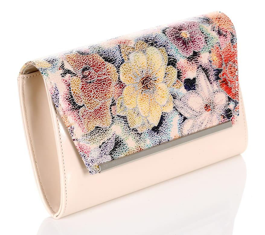 0f8db26ddcdff Elegancka beżowa kopertówka w kwiaty W52k Centrum Modnych Torebek