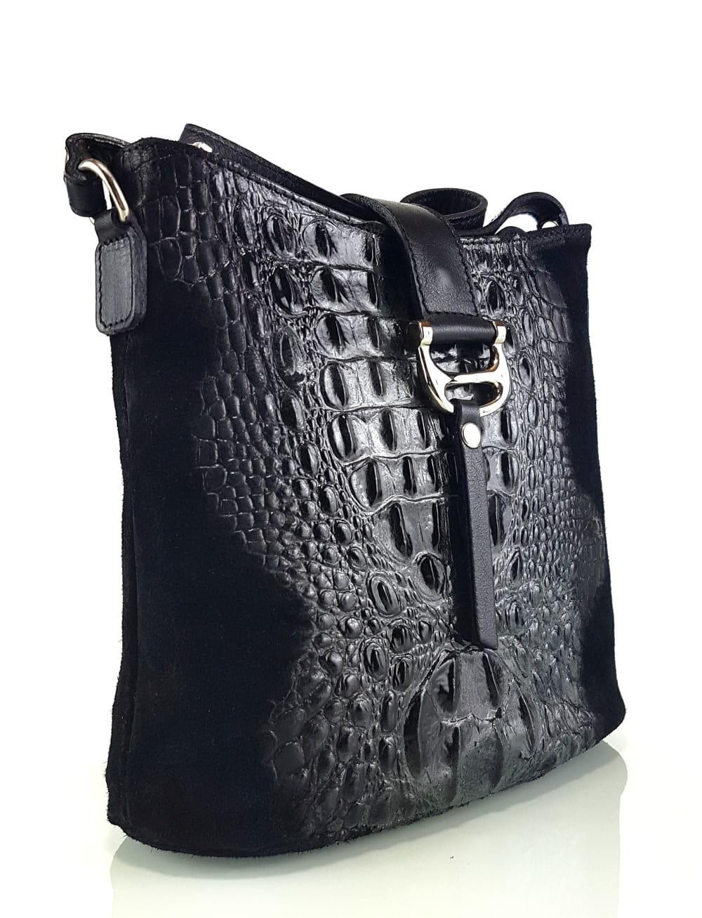 Skórzana czarna torebka SS7