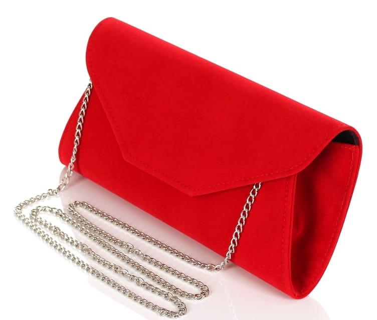 23c02fdfa1075 Czerwona zamszowa kopertówka na łańcuszku W55 Centrum Modnych Torebek