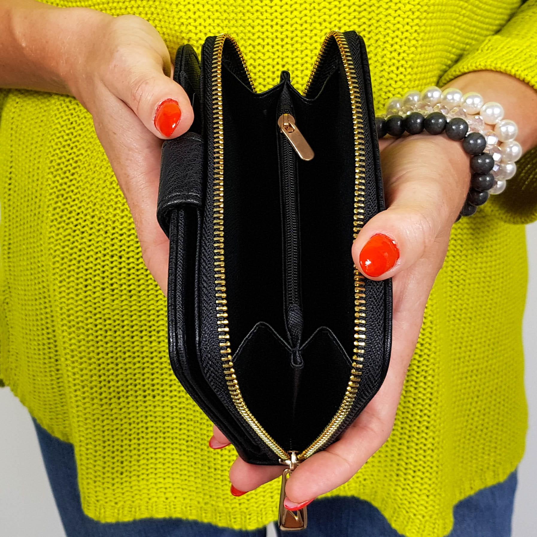 49f0936a74c5a Czerwony ażurowy portfel damski podwójny 16807 Centrum Modnych Torebek