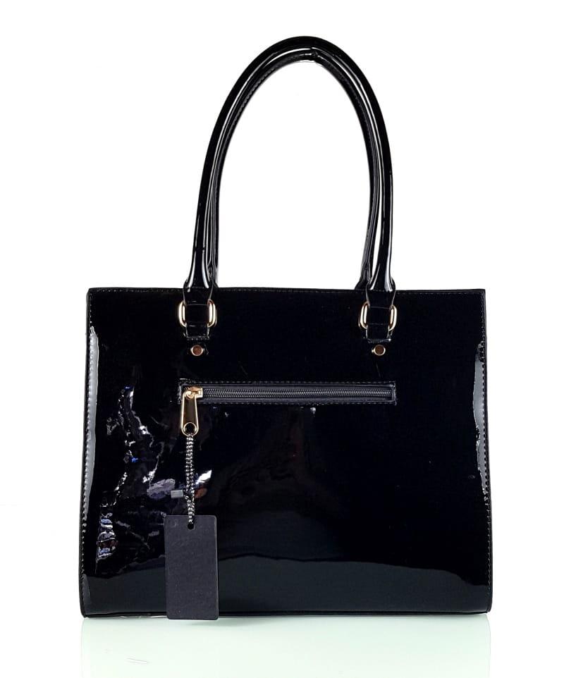 d8e767cdc8331 Czarna lakierowana klasyczna torebka damska  319 Centrum Modnych Torebek