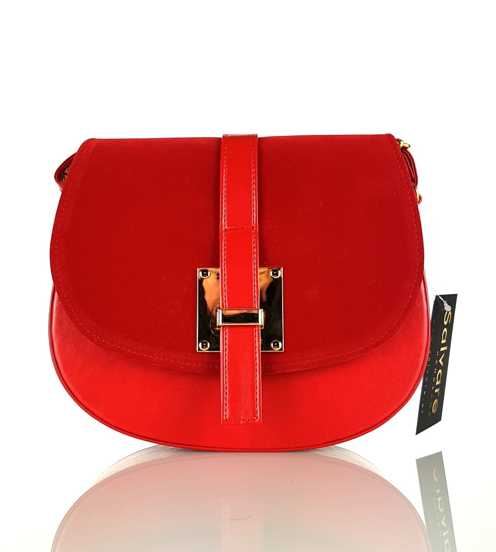 3f45cff67ec95 Sztywna czerwona listonoszka SALVARE W57 Centrum Modnych Torebek