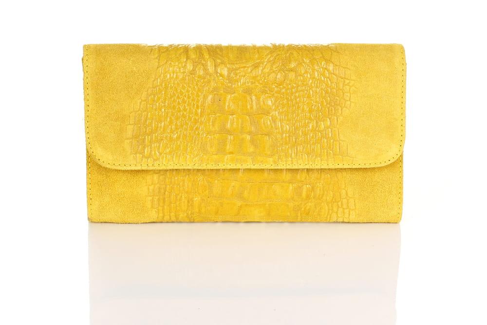 78a86f0a919ff Vera Pelle skórzana żółta kopertówka ZAMSZ SS9 Centrum Modnych Torebek
